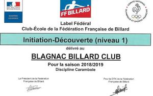 LABEL FEDERAL D'ECOLE DE BILLARD
